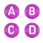 Acrylic letter beads mix Razzleberry Purple Transparent