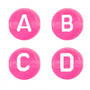 Acrylic letter beads mix Azalea Pink Transparent