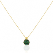 Stainless steel necklaces hexagon Gold-Emerald Green