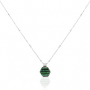Stainless steel necklaces hexagon Silver-Emerald green