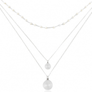 Stainless steel necklaces 3 layer coin & pearl Silver