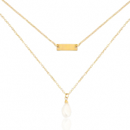 Stainless steel necklaces 2 layer pearl Gold
