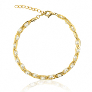 Stainless steel bracelets pearls Gold