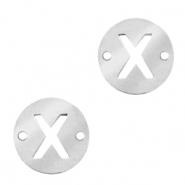Stainless steel charms connector round 10mm initial coin X Silver