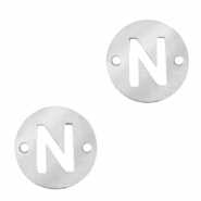 Stainless steel charms connector round 10mm initial coin N Silver