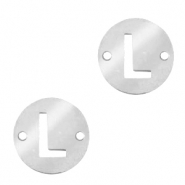 Stainless steel charms connector round 10mm initial coin L Silver