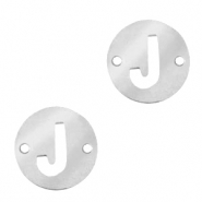 Stainless steel charms connector round 10mm initial coin J Silver