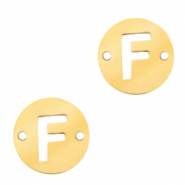 Stainless steel charms connector round 10mm initial coin F Gold