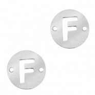 Stainless steel charms connector round 10mm initial coin F Silver