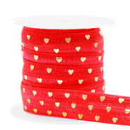Elastic ribbon hearts Red-Gold