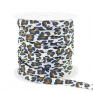 Stitched elastic ribbon leopard White-Brown