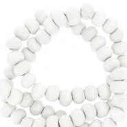Wooden beads round 6mm White