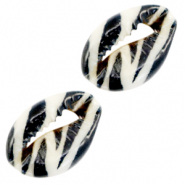 Shell beads specials Cowrie Black-White Zebra