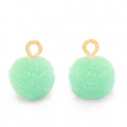 Pompom charms with loop 10mm Gold-Green Ash
