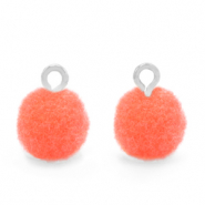 Pompom charms with loop 10mm Silver-Coral Pink