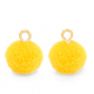 Pompom charms with loop 10mm Gold-Sunshine Yellow