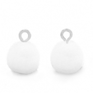 Pompom charms with loop 10mm Silver-White
