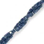Top faceted beads cube 2x2mm Ensign Blue-Pearl Shine Coating