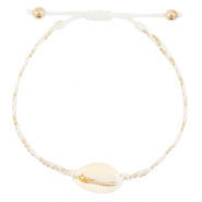 Ready-made Bracelets Cowrie braided White