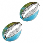 Resin pendants cowrie shell Cyan Blue-Silver