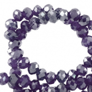 Top faceted beads 6x4mm disc Grape Purple-Pearl Shine Coating