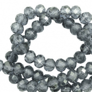 Top faceted beads 4x3mm disc Steel Blue-Pearl Shine Coating
