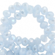 Top faceted beads 4x3mm disc Ice Blue-Pearl Shine Coating