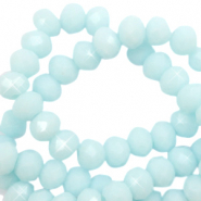 Top faceted beads 6x4mm disc Seafoam Blue-Pearl Shine Coating