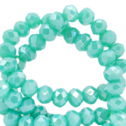 Top faceted beads 3x2mm disc Light Teal Green-Half Diamond Coating