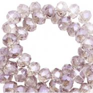 Top faceted beads 6x4mm disc Greige Topaz-Pearl Shine Coating
