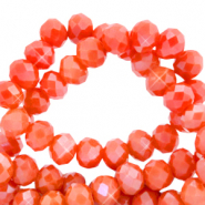 Top faceted beads 4x3mm disc Fiery Red-Pearl Shine Coating