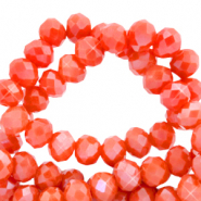 Top faceted beads 3x2mm disc Fiery Red-Pearl Shine Coating