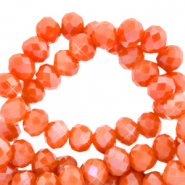 Top faceted beads 4x3mm disc Spicy Orange-Pearl Shine Coating