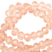 Top faceted beads 6x4mm disc Blush Peach-Pearl Shine Coating