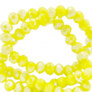 Top faceted beads 4x3mm disc Blazing Yellow-Pearl Shine Coating