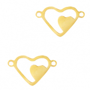 Stainless steel charms/connector heart Gold
