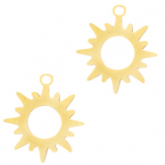 Stainless steel charms sun Gold
