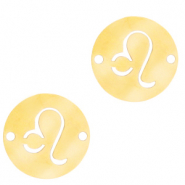 Stainless steel charms/connector zodiac sign Leo Gold