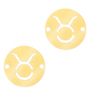 Stainless steel charms/connector zodiac sign Taurus Gold