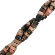 Natural stone beads disc 4mm Anthracite-Vintage Pink