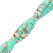 Natural stone beads disc 4mm Marble Turquoise Green