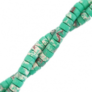 Natural stone beads disc 4mm Marble Emerald Green