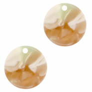 Resin pendants round 12mm Mixed Light Green-Brown