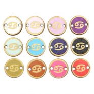 Wooden pendants/connector 12mm zodiac sign Cancer Multicolour Gold