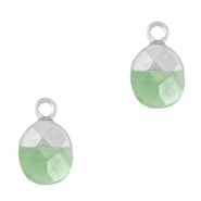 Natural stone charms Light Green-Silver