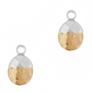Natural stone charms Light Brown-Silver