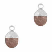 Natural stone charms Dark Brown Grey-Silver