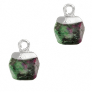 Natural stone charms hexagon Marble Green-Silver