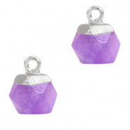 Natural stone charms hexagon Purple-Silver