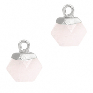 Natural stone charms hexagon Icy Pink-Silver
